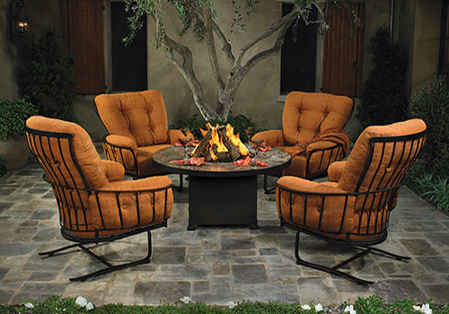 Outdoor chairs and fire table